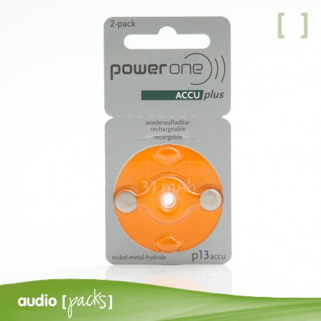 2 Piles Recargables taronges (13) Powerone per audiòfons