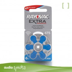 6 pilas  Rayovac azules para audífonos (675)